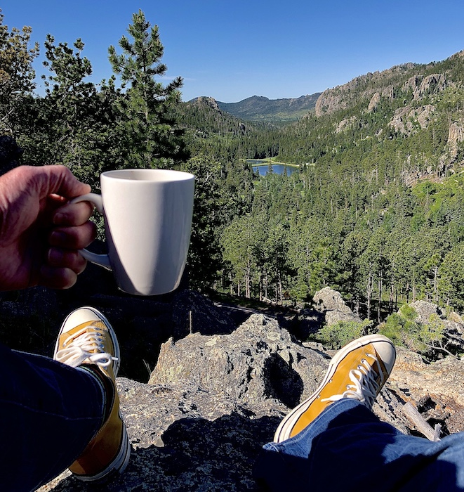 Morning Coffee at Sylvan Lake State Park in Blackhills of Houth Dakota.