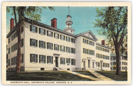 Vintage postcard of Dartmouth Hall at Dartmouth College.