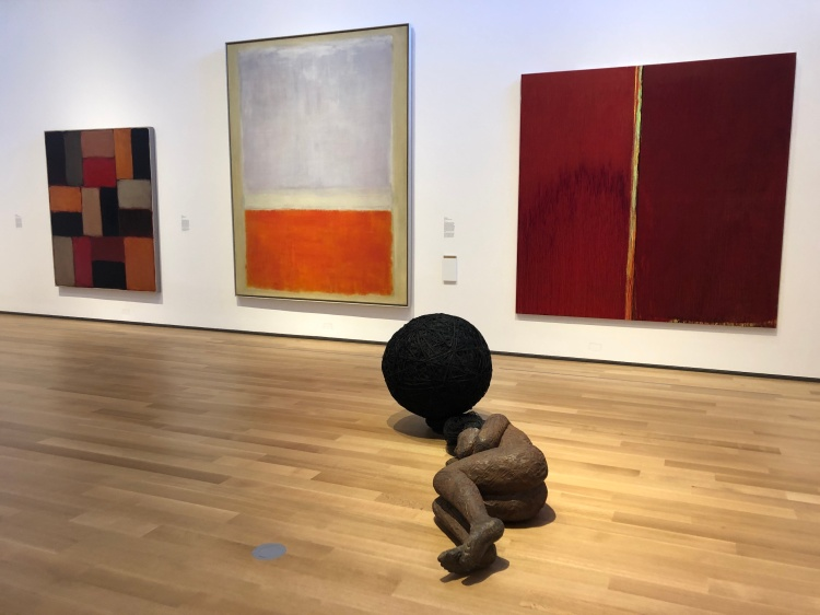 Paintings by Sean Scully, Mark Rothko, Pat Steir and sculpture by Alison Saar.