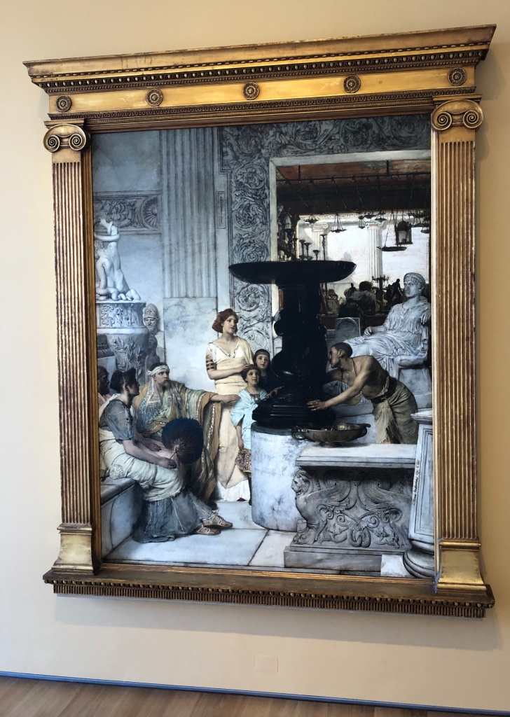 "Lawrence Alma-Tadema oil painting ""The Sculpture Gallery."""