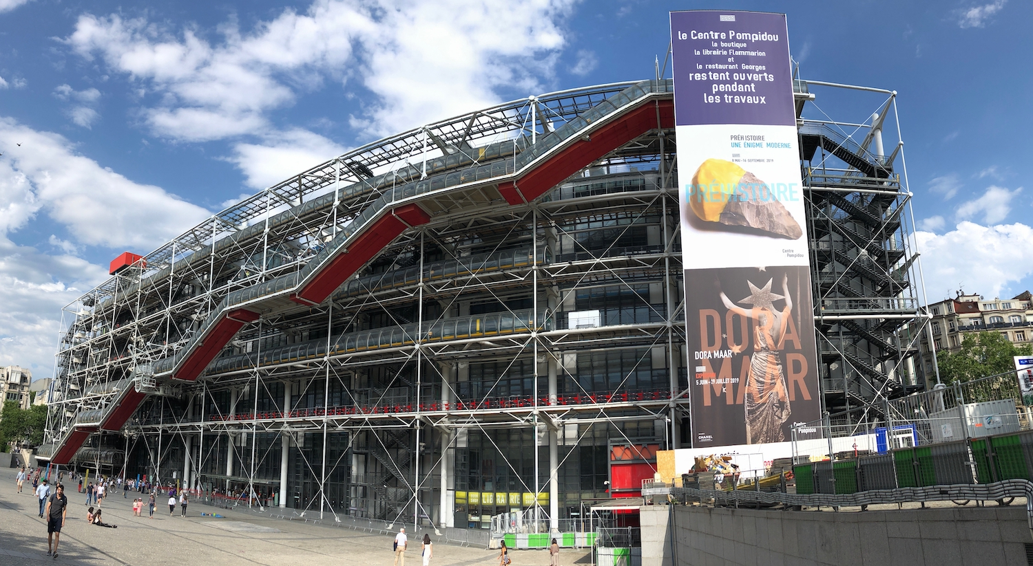 Exterior of the Pompidou Center, France as it readies for renovation.