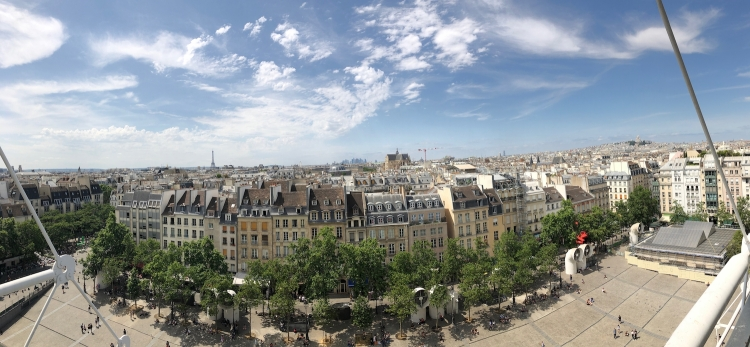 View from rooftop restaurant at Centre George Pompidou.